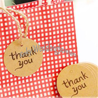 Wholesale Kraft Paper Thank You Tag Paper Gift Tag Label Marks Decorations Fashion DIY Accessories Vintage Wedding Decor Favors