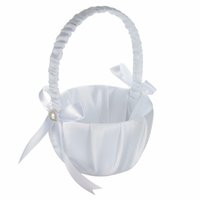 beautiful gift baskets - Beautiful Holy White Satin Bowknot Pearl Flower Candy Girl Basket Love Case Wedding Ceremony Party Accessories Best Gift