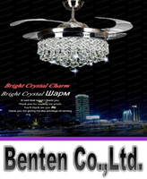 Wholesale Invisible Crystal Light Ceiling Fans Modern LED crystal lamp Indoor parlor Ceiling Fans Crystal Light remote control Control LLFA11