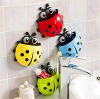 Wholesale New Cute Funny Cartoon Yellow Red Blue Green Pink Ladybug Sucker Suction Hook Tooth Brush Holders Hot Bathroom Accessories YW16 H02