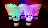 Wholesale Pack Of Brand New Dark Night Glow LED Badminton Shuttlecock Birdies Lighting Seven Color Sports Light Flash Outdoor Indoor E589E