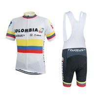 Wholesale 2015 Cycling Clothing Team Colombia White Cycling Jersey and White Black Cycling Bib Shorts Mountain Bike Clothing Bicycle Clothes