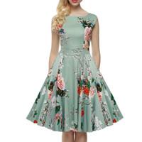 al por mayor dreeses mujer-Las mujeres de alta calidad de la década de 1950 una línea de flores sin mangas impresas Spring Garden Party Picnic vestido vestido de bola algodón elástico Casual Dreeses