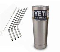 Wholesale 20oz yeti Stainless Steel Straws Metal Drinking Straw Cleaning Brush Set in Retail Packing Per Set Fits Yeti Tumbler Rambler Cups