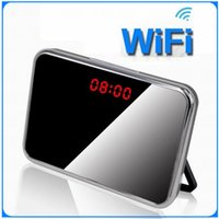 Wholesale P2P wifi Pinhole Hidden Alarm Clock Spy Security Surveillance Camera support IOS Android video anytime and anywhere