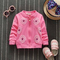Wholesale 4PCS Spring Autumnl Coats for Girls Flowers Long SLeeve Kids Outwear Cotton Red Pink Gray Yellow baby Clothing Girls Clothes