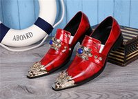 Cheap British Style Luxury Genuine Leather Party Men's Dress Shoes Men Red Slip-on Oxford Wedding Shoes Mens Flats Plus Size 37-46
