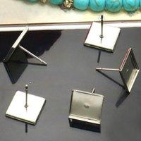 Wholesale 9 x9 mm Blank Earrings Settings teardrop bezel Cabochon bases SUS304 stainless steel stud Earrings post Findings DIY Crafts mm Blank Ea