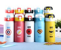 avengers bottle - 2016 The Avengers Cup Stainless Steel vacuum flask cup Super man Spider man Caption America fashionable bottles
