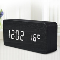 Wholesale AJ6035 LED Wooden Alarm Fashion Mordern Four colourful Clock Time Temperature Week Calendar Display for Home Office