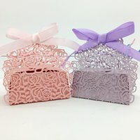 baby gift boxes - 200pcs Laser Cut Hollow Rose Flower Candy Box Chocolates Boxes With Ribbon For Wedding Party Baby Shower Favor Gift