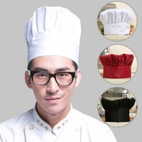 adult chef costume - New Arrival Chef Hats Unisex Restaurant Kitchen Cooking Hat Hotel Working Cap Adult Elastic Costume Cap Red Black White YH0227