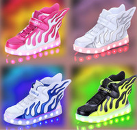 Wholesale 2017 New Children USB charging shoes LED light emitting light shoe authentic boy flame wings girls High help shoes