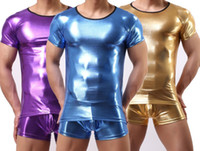 Cheap Wholesale-Men T Shirt PVC Pajama Set Sleepwear Sexy Mens Underwear Tees Undershirts Tshirts Faux Leather Casual Short Sleeve Boxers