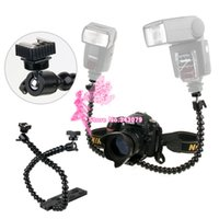 Cheap Flexible Dual-arm Dual-shoe Flash Bracket for MACRO SHOT for CANON NIKON PENTAX Photo Studio Accessories
