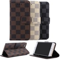 Cheap Plaid Flip Leather Cases For iPhone 5 5S SE 6 6S iphone6 Plus Samsung Galaxy S6 S7 Edge Note 5 Wallet Book Credit Card Case Cover Protecting