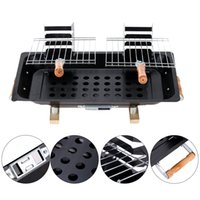 Wholesale BBQ Grill Garden Charcoal Barbecue Portable Picnic Camping Double Grill Broiler Outdoor Cooking Tool DHL H16492