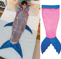 Wholesale The new shark sleeping children sleeping bags double sleeping bags Mermaid Crystal velvet warm baby sleeping bag