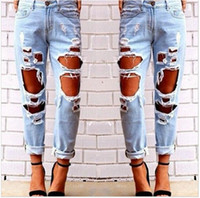 Wholesale 2016 Fitness Long Jeans Spring Skinny Faded Ripped Casual Slim Denim Jeans Faded Ripped Casual Slim Out Fit Cool Hole Jeans for Woman