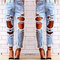 Wholesale 2016 New Designer Fashion Ripped Jeans Femme Casual Washed Holes Boyfriend Jeans for Women Regular LongTorn Jeans Wild Denim Plus Size Pants