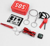Wholesale Emergency Outdoor Equipment Emergency Bag Survival Kit Box Self help Box SOS Equipment for Camping Hiking