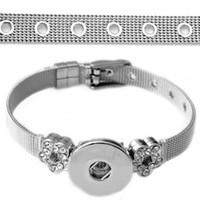 al por mayor de acero inoxidable al por mayor de encaje-Nuevo botón encanto brazalete de acero inoxidable de 18 mm ajuste al por mayor de 2016 Snap BraceletBangles alta calidad Rivca encaje joyas