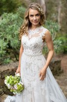 Wholesale On Sale Wedding Dress With Tulle Sheath Jewel Neck Chapel Train Lace Appliques Beaded Sash Wedding Dresses Bridal Gowns DL10182