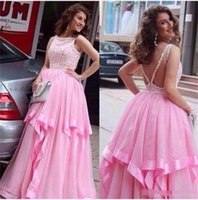 Cheap Pink Prom Dresses Jewel Beads Sequins Sexy Back A Line Layers Chiffon Cocktail Dress Evening Gowns Custom Made Pageant Dress For Teens 2016