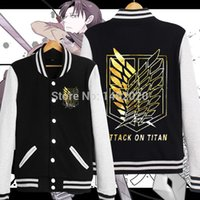 baseball titans - Colors shingeki no kyojin attack on titan Cosplay Scouting Legion baseball uniform unisex Autumn winter thicken jacket Hoodie
