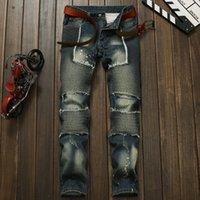 Wholesale Mens Fashion Brand Biker Jeans Designer Distressed Vintage Slim Denim Pants Patchwork Hip hop Rock Jeans Trousers