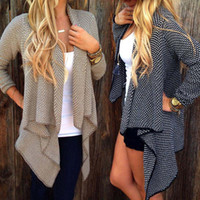 argyle sweaters - 2016 Hot Sale Autumn Winter Fashion Women Loose Knit Waterfall Cardigan Jacket Long Sleeve Irregular Sweater Coat Plus Size