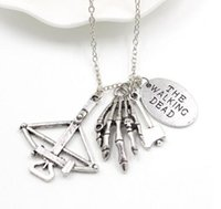 axe antique - 12pcs antique silver The Walking Dead Charm Necklace Crossbow Hand Stamped Axe Walker Charms pendant necklace