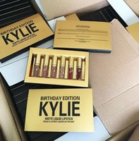 Wholesale Hot set Kylie Jenner Cosmetics Matte Liquid Lipstick Mini Kit Lip Birthday Edition Limited With the Golden Box Lip Gloss