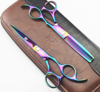 Wholesale KASHO Rainbow Colors hair cutting scissors high quality Professional barber hairdressing scissors hair thinning shears bag Gift