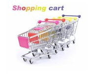 Wholesale artwares Cute Cart Mobile Phone Holder Pen Holder Mini Supermarket office Handcart Shopping Utility Cart pen Holder