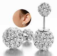Wholesale Swarovski Rhinestone Silver Balls - 925 Silver Shamballa Crystal Earrings disco double sided Ball Stud Earrings Swarovski Jewelry for Women with Rhinestone