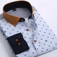 Wholesale Men Polka Dot Printed Fashion Slim Long Sleeve Shirts Male Casual Polyester Business Style Man Dress Shirt Vestidos XL Color