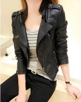 Wholesale New Korean female double collar leather jacket women s leather short coat female installed Ms Slim collar leather jacket rivet