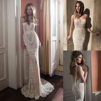 Wholesale Berta Full Lace Backless Wedding Dresses Mermaid Sweetheart Neckline Illusion Bodice Sweep Train Pearls Sexy Open Back Bridal Gowns