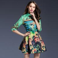 animal print drapes - European spring new women s improved Chinese knot mandarin collar dress green peacock print dress casual dress