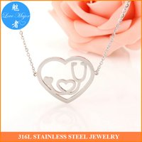 american connection - 2016 Latest Fashion Heart Connection Stainless Steel Stethoscope Design Statement Choker Necklace Pendant Jewelry For Women