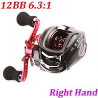 Wholesale 12BB Right Hand Bait Casting Fishing Reel Ball Bearings One way Clutch High Speed Red Carp Baitcasting Fihsing Reels
