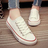 Zapatillas de deporte superiores clásicas de la lona de las mujeres de las muchachas de las muchachas de las señoras de la manera de PP Zapatos planos de los deportes con diseño simple