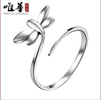 Wholesale Open the dragonfly silver ring factory direct ring Korea small jewelry Korean cute