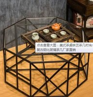 Wholesale Small angle American tea table iron table are at the living room retro toughened glass coffee table