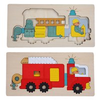 Cheap Kids Wooden Multilayer Jigsaw Puzzle Toys Early Education 3D Puzzle Story Cartoon Fire Fighting Truck Puzzle For Children Gift