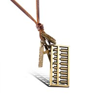 abacus pendant - Retro Abacus Pendants Necklae with Metal Tag Leather Chain Necklace for Men and Women