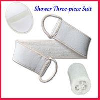 Wholesale Natural Loofah Bath Shower three piece Suit Bathing Brush bath Towel Clean body Rub zao Exfoliator Acne Treatment healthy