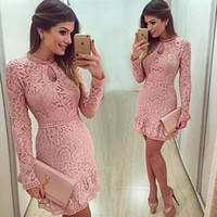Wholesale Keyhole Dress Long Sleeve Party - 2016 New Arrival Keyhole Neck Cocktail Dresses Mini Short Pink Lace Beaded Long Sleeves Party Prom Gowns