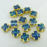 Wholesale 18554 Gold Plated Band Cross Enamel Blue Beads Loose Cloisonne for Bracelet